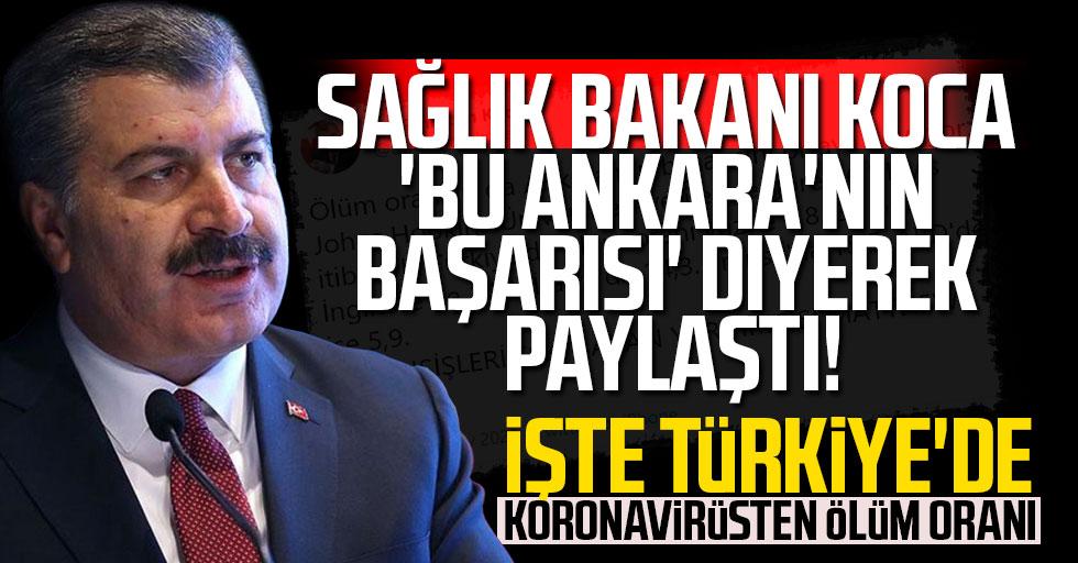 Sağlık Bakanı Koca 'Bu Ankara'nın başarısı' diyerek paylaştı! İşte Türkiye'de koronavirüsten ölüm oranı