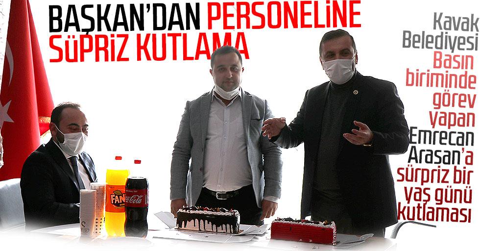 Başkan'dan Personeline Süpriz Kutlama
