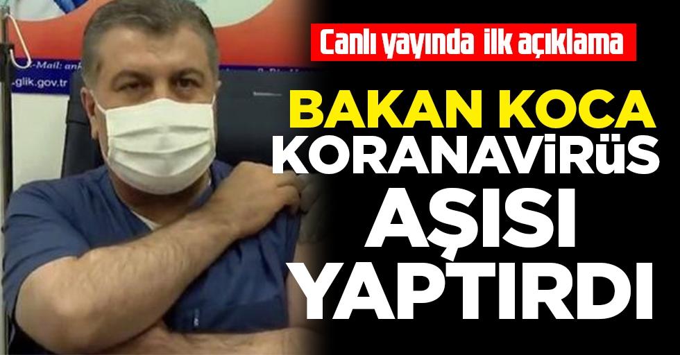 Sağlık Bakanı Fahrettin Koca, Türkiye'de koronavirüs aşısı yaptıran ilk kişi oldu